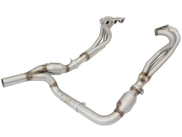 aFe Power Twisted Steel Headers & Y-Pipe w/ Cat SS 2.5in 07-11 Jeep Wrangler (JK) V6 3.6L