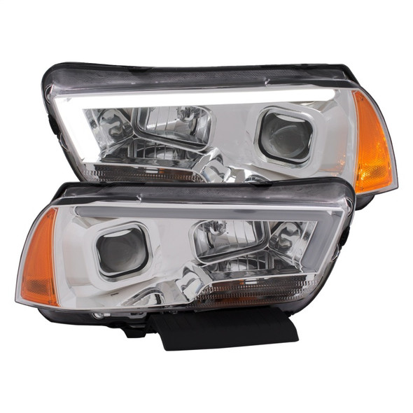ANZO 11-14 Dodge Charger Projector Headlights w/ Plank Style Design Chrome w/ Amber