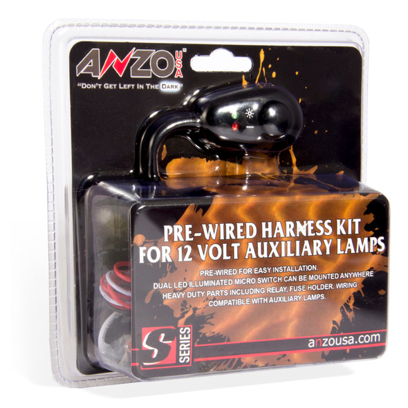 ANZO 12V Wiring Kit Universal 12V Auxiliary Wiring Kit w/ Illuminated Switch