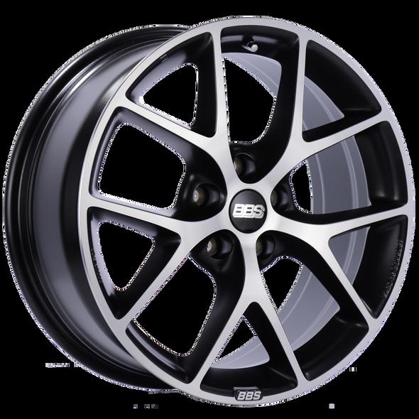 BBS SR 17x7.5 5x100 ET48 Satin Black Diamond Cut Face Wheel -70mm PFS/Clip Required