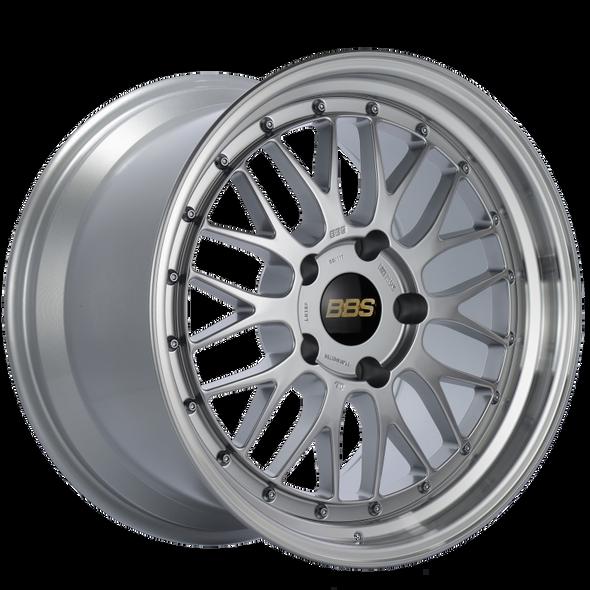 BBS LM 18x9.5 5x112 ET32 Diamond Silver Center Diamond Cut Lip Wheel -82mm PFS/Clip Required