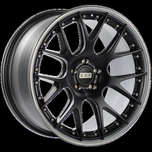 BBS CH-RII 21x10.5 5x112 ET17 Satin Black Center Platinum Lip SS Rim Prot Wheel -82mm PFS/Clip Req