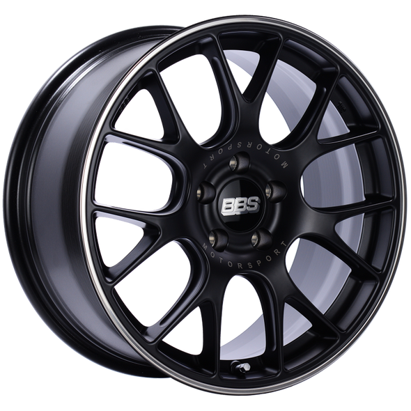 BBS CH-R 18x8.5 5x112 ET38 Satin Black Polished Rim Protector Wheel -82mm PFS/Clip Required