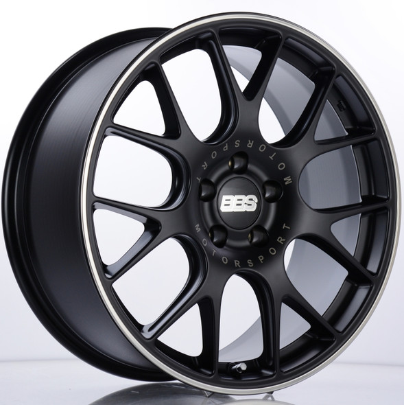 BBS CH-R 19x8.5 5x112 ET32 Satin Black Polished Rim Protector Wheel -82mm PFS/Clip Required