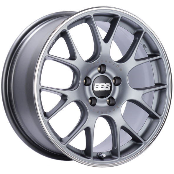 BBS CH-R 18x8.5 5x112 ET38 Satin Titanium Polished Rim Protector Wheel -82mm PFS/Clip Required