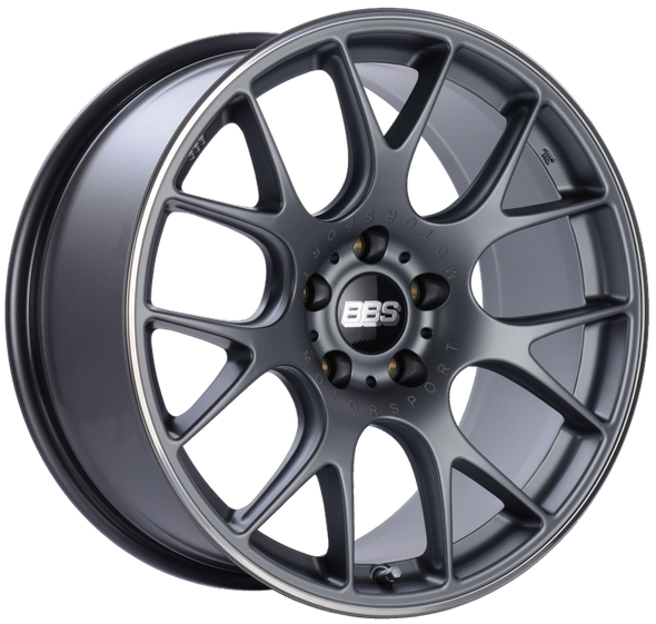 BBS CH-R 19x9.5 5x112 ET35 Satin Titanium Polished Rim Protector Wheel -82mm PFS/Clip Required