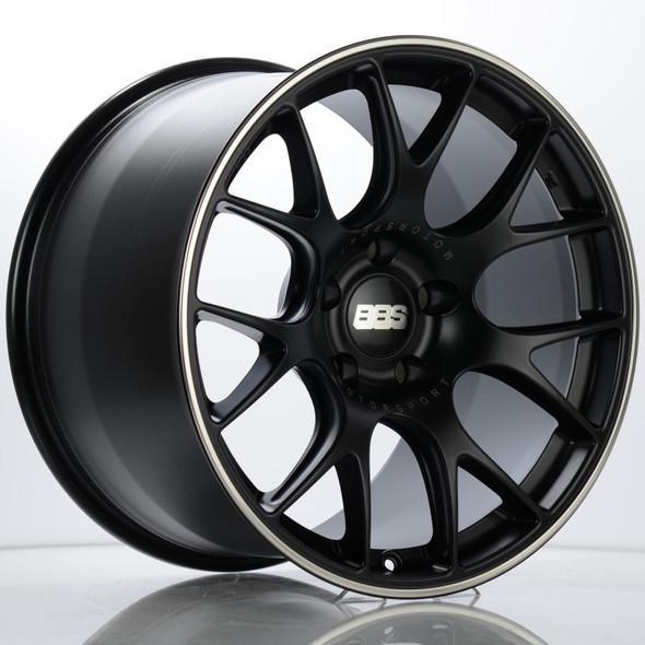 BBS CH-R 19x12 5x130 ET45 CB71.6 Satin Black Polished Rim Protector Wheel w/ Motorsport Etching