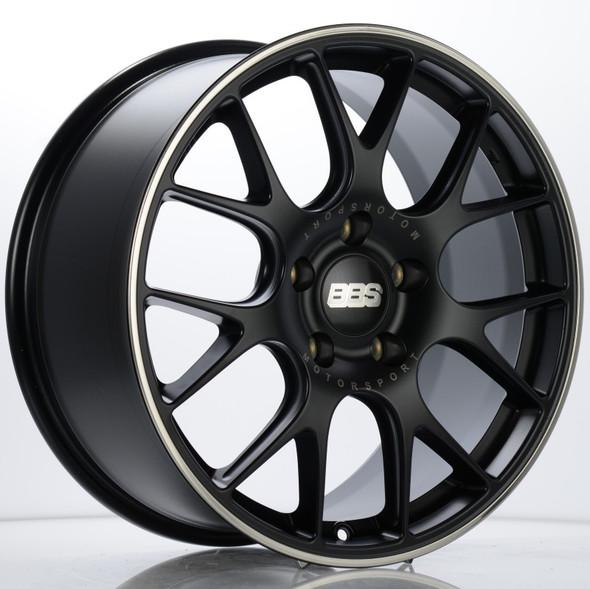 BBS CH-R 19x8.5 5x130 ET51 CB71.6 Satin Black Polished Rim Protector Wheel w/ Motorsport Etching