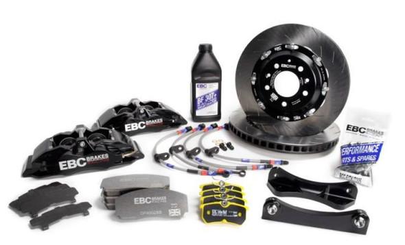 EBC Racing 12-17 Ford Fiesta ST (Mk7) Black Apollo-4 Calipers 330mm Rotors Front Big Brake Kit