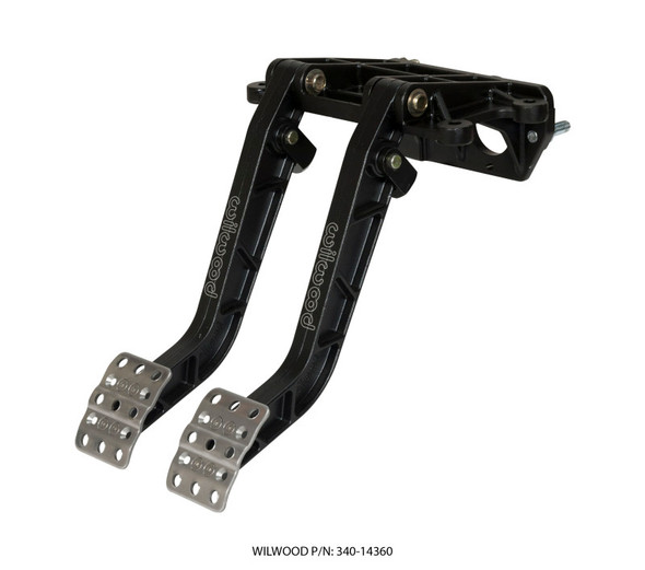 Wilwood Adjustable-Tandem Dual Pedal - Brake / Clutch - Fwd. Swing Mount - 6.25:1 - Black E-Coat