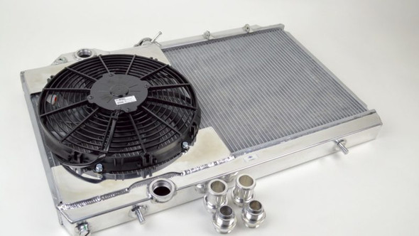CSF 01-07 Mitsubishi Evo 7/8/9 Full Size Slim Radiator w/12in Fan & Shroud/-16AN & Slip-On Fittings