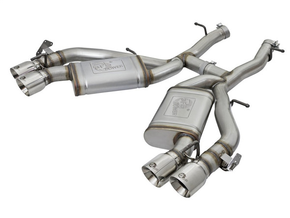 aFe MACHForce XP 3in 304 SS Axle-Back Dual Exhaust (NPP) w/ Polished Tips 16-17 Camro SS V8-6.2L