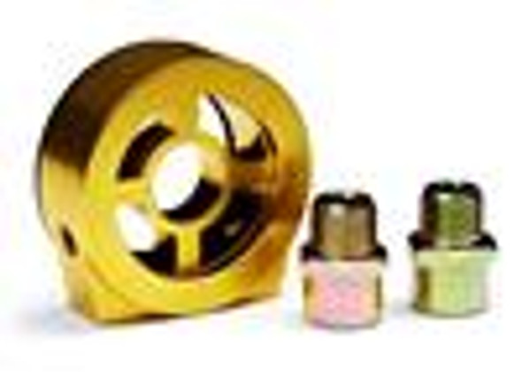BLOX Racing Oil Filter Block Adapter Gold / For Oil Pressure / Oil Temperature