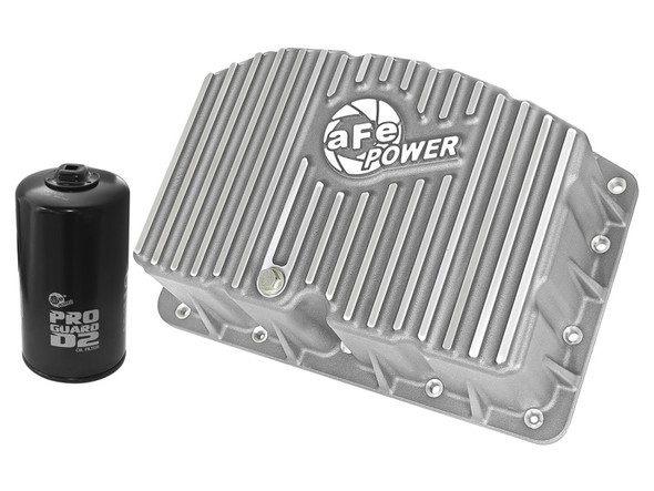 aFe Street Series Engine Oil Pan Raw w/ Machined Fins; 11-17 Ford Powerstroke V8-6.7L (td)