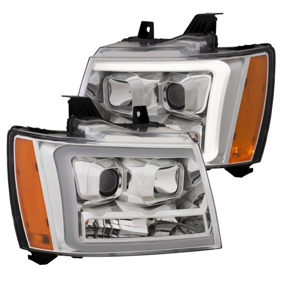 ANZO 07-14 Chevy Tahoe Projector Headlights w/ Plank Style Design Chrome w/ Amber