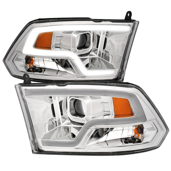 ANZO 09-18 Dodge Ram 1500 Plank Style Projector Headlights Chrome w/ Halo
