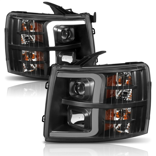 ANZO 07-13 Chevrolet Silverado 1500 Plank Style Projector Headlights Black w/ Amber