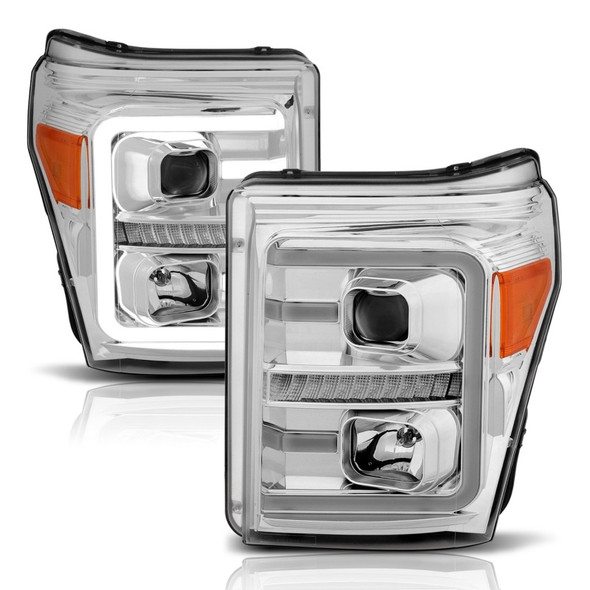 ANZO 11-16 Ford F-250/F-350/F-450 Projector Headlights w/ Plank Style Switchback Chrome w/Amber