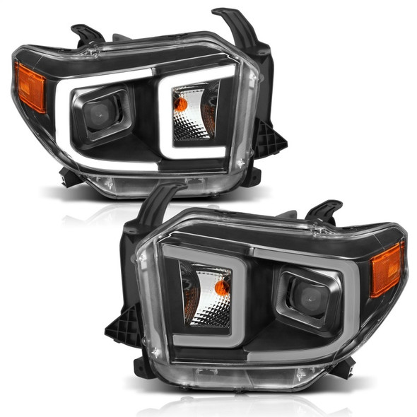 ANZO 14-17 Toyota Tundra Plank Style Projector Headlights Black w/ Amber