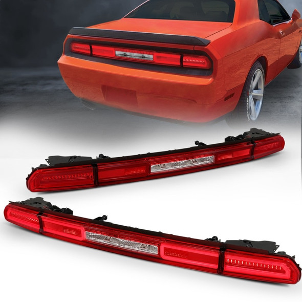 ANZO 08-10 Dodge Challenger LED Taillights - Red/Clear w/Sequential Turn Signal
