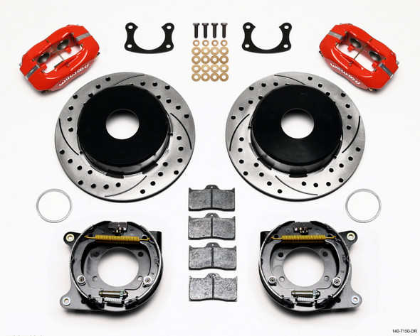 Wilwood Forged Dynalite P/S Park Brake Kit Drilled Red Big Ford New 2.50in Offset Currie Blank