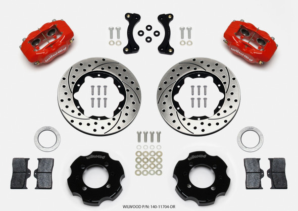 Wilwood Forged Dynalite Front Hat Kit 11.00in Drilled Red 95-05 Miata