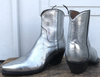 Bedazzle Silver Cowboy Ankle Boots