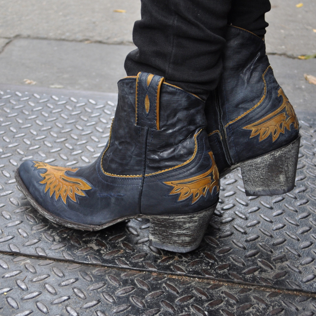 Golden Eagle Inlay Zip Blue Jeans Leather 10 last pair