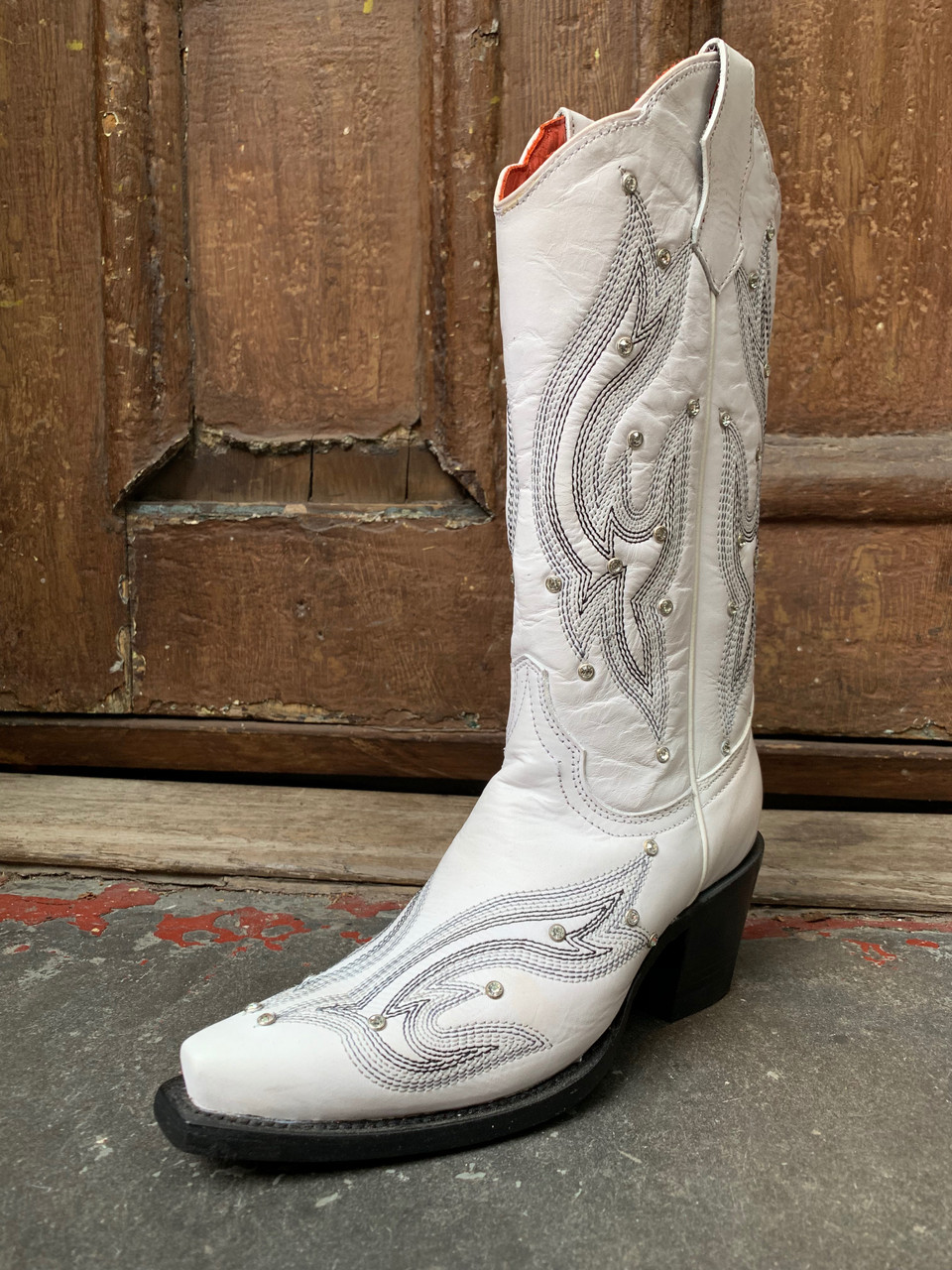 Rhinestone Cowgirl White Boots by