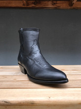 Black Calf Round Toe Ankle Boot