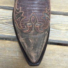Chocolate Teju Lizard Wingtip Cowboy