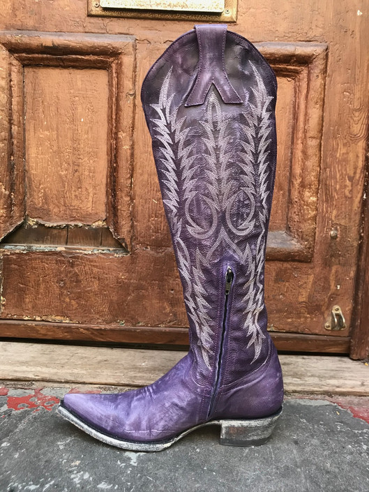 Mayra Dirty Purple Knee High Boot
