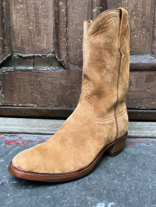 Tan Rough-Out Roper Boots