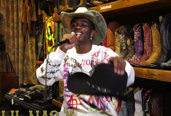 6X Wool Black Hat with Leather Stud Band (LIL NAS YEE HAW CHALLENGE)