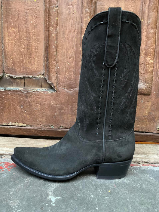 Black Nubuck Kid Western