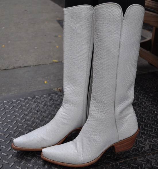 "White Snake 18"" Tall  Zipper Boot"