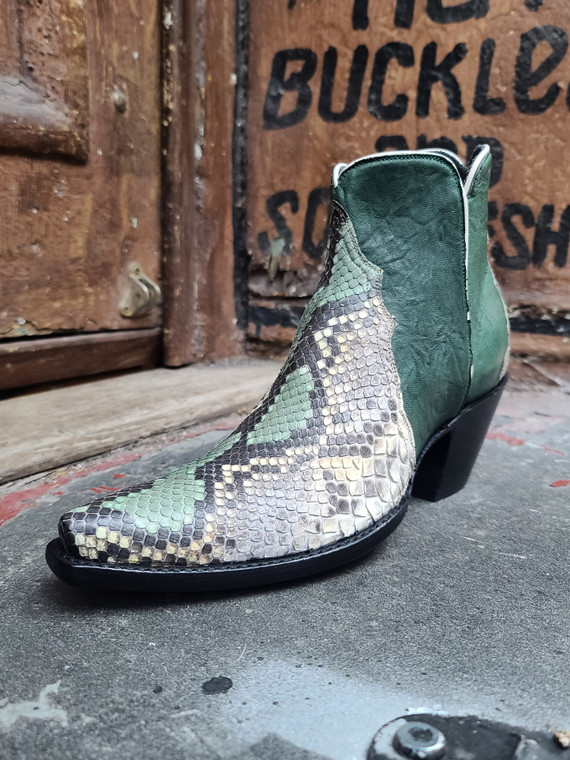 green painted python boots