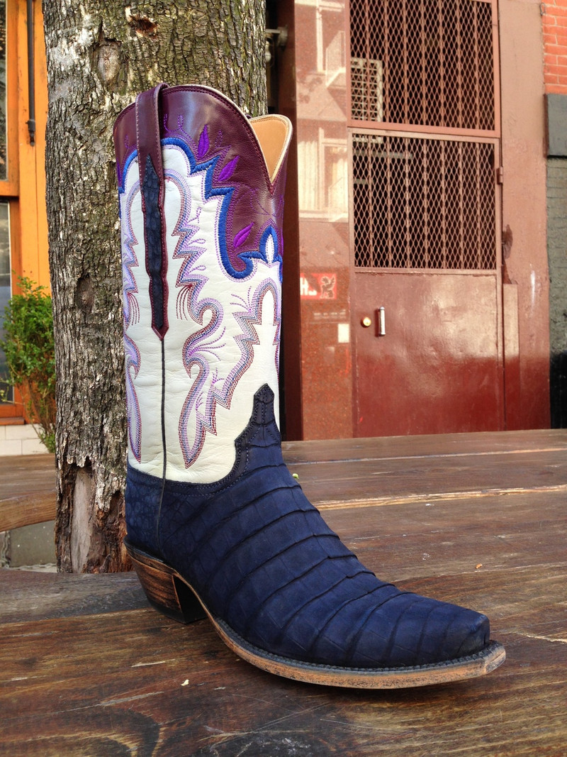 Lucchese Classic Suede Crocodile Deep Blue