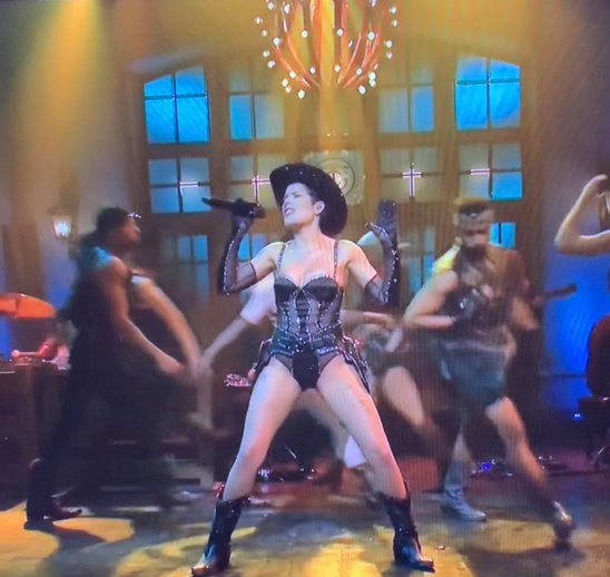 Halsey dancing in our Rhinestone Cowgirl Noir boots on SNL