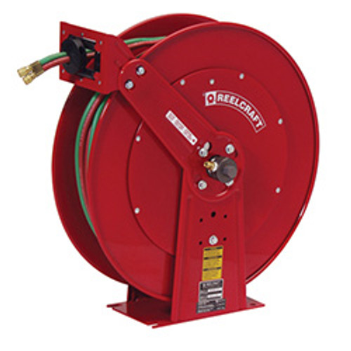 "Reelcraft Spring Retractable Hose Reel, 1/4"" x 100' For Oxygen/Acetylene, MAP, Natural Gas, Fuel Gas"