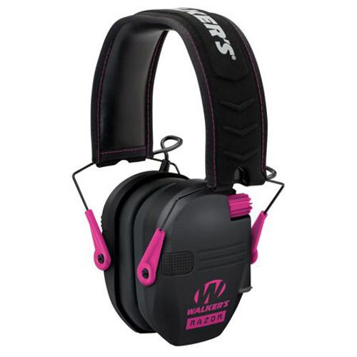 Walkers Razor Slim Shooter Folding Electronic Earmuff 23 dB - Black/Pink