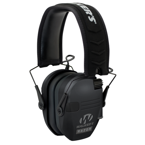 Walkers Razor Slim Electronic Polymer 23 dB Over the Head Black Ear Cups w/Black Band