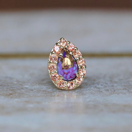 Pear Altura - Purple Turquoise & Peach Topaz