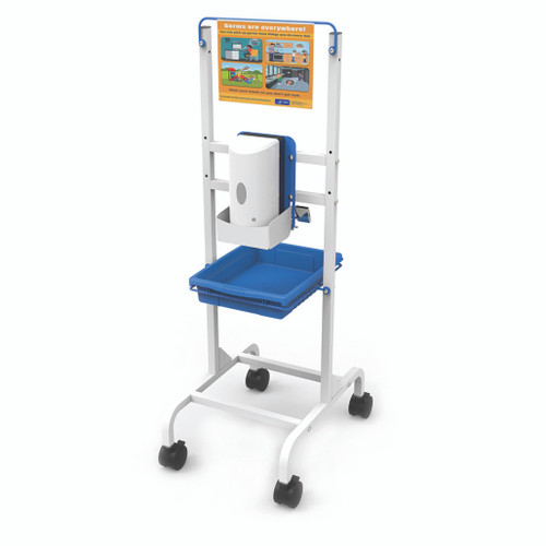 White metal rolling stand with sign, hand sanitizer dispenser and catch tray mounted