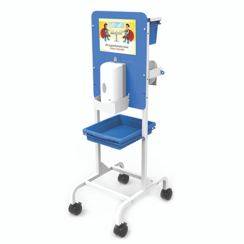 Blue and white rolling stand with sign, hand sanitizer dispenser w/catch tray, paper towel roll mounted.