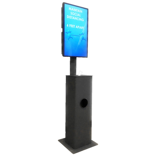 digital sign displaying maintain social distance on black floor stand with wipes and garbage