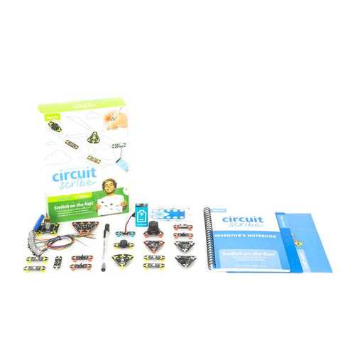Circuit Scribe Super Plus Kit contents.  Booklet and modules