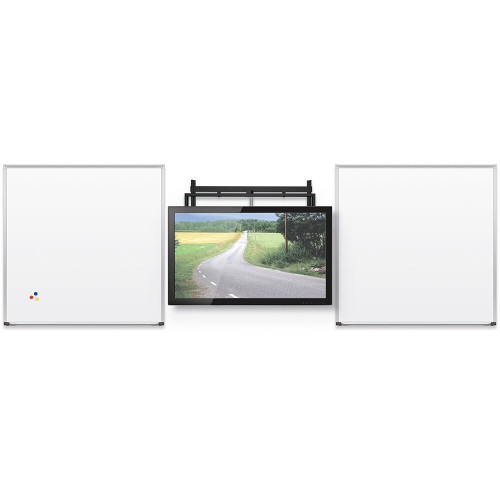 MooreCo height adjustable flat panel mount featured in center of wall with 2 whiteboards on each side-front view