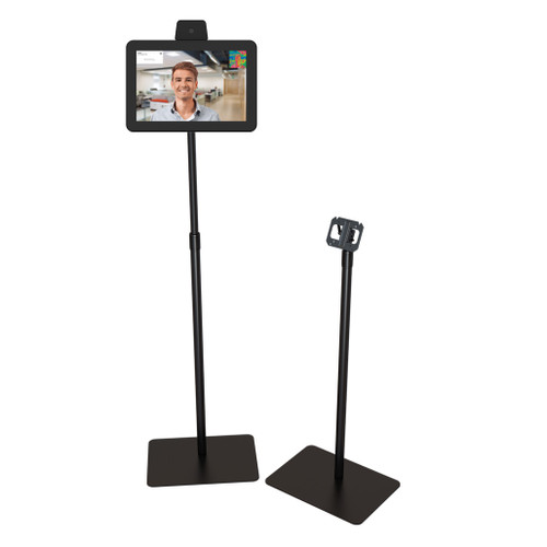 Adjustable pole stands with temperature scan tablet mounted