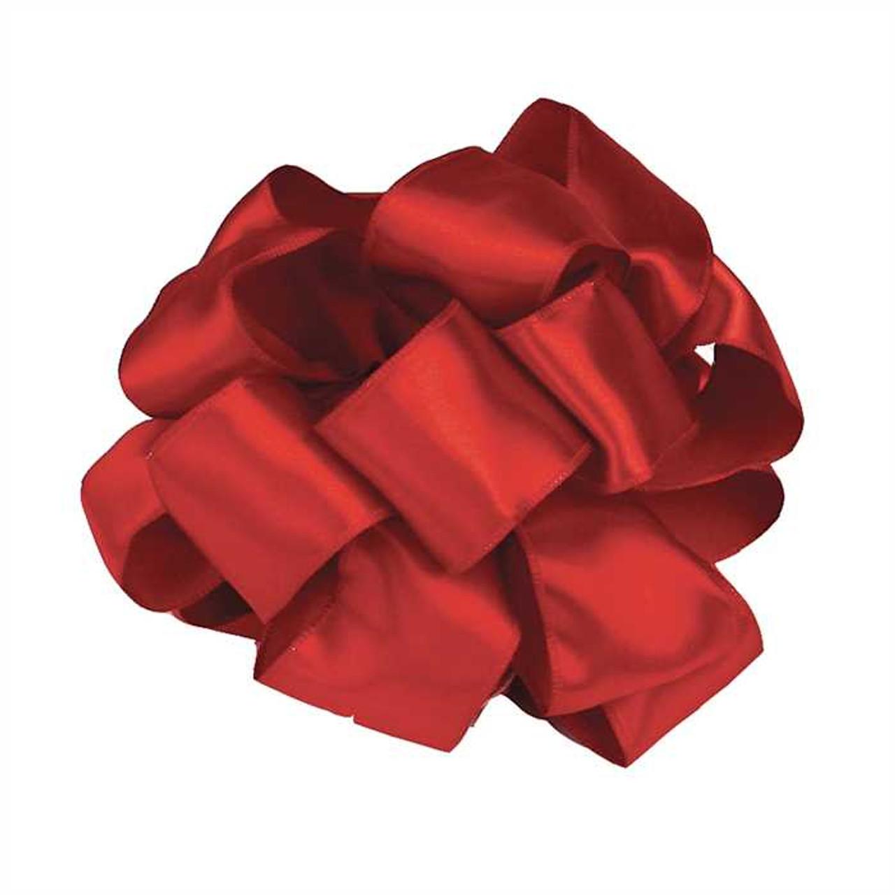 """4"""" Red Wired Contessa Satin Ribbon"""